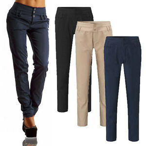 ... Femme-Crayon-Extensible-Decontracte-Slim-Skinny-Boutons-Pantalon- a26bf3bc4a5