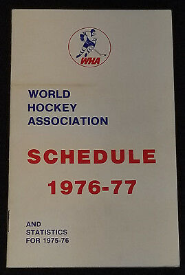 Schedule & Statistic For 1975-76 Colours Are Striking Wha 1976-77 World Hockey Association
