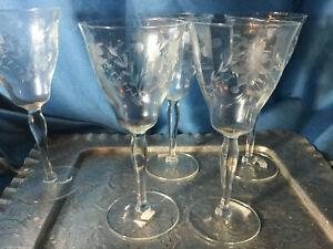 Lot-of-5-etched-cut-czech-bohemian-crystal-wine-stem-glass-floral-pear-shape