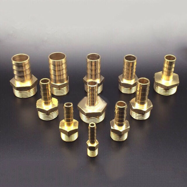 """Solid Brass Hose Barb x Male Pipe Brass Fitting 1//4/"""" Hose Barb x 1//4/"""" NPT"""