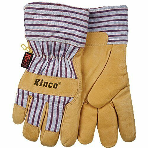 KINCO 1927-L Men's Lined Grain Pigskin Gloves, Heat Keep Lining, Large, Golden