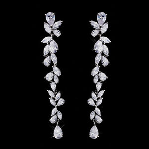 Image Is Loading Cascading Dangle Bridal Earrings Cubic Zirconia Cz Prom