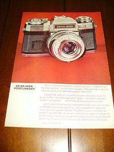 1968 ZEISS IKON CONTAFLEX SUPER BC CAMERA ***ORIGINAL VINTAGE AD***
