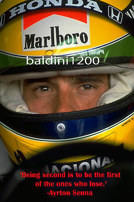 AYRTON SENNA - BEAUTIFUL POSTER PRINT WITH QUOTE - LOOKS AWESOME FRAMED