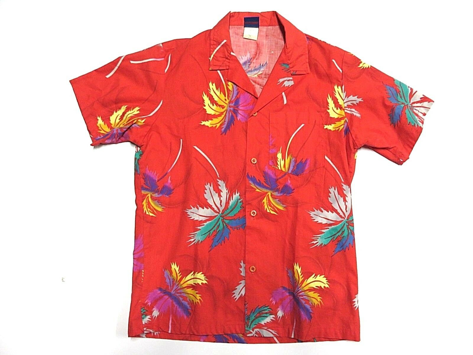 80s OCEAN PACIFIC Hawaiian Floral Tropical Button Up Shirt Adult Mens Size Small