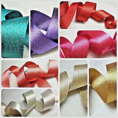 1 mtr 40mm QUALITY,WIRED CHRISTMAS RIBBON,RED METALLIC IVORY SHIMMER GOLD