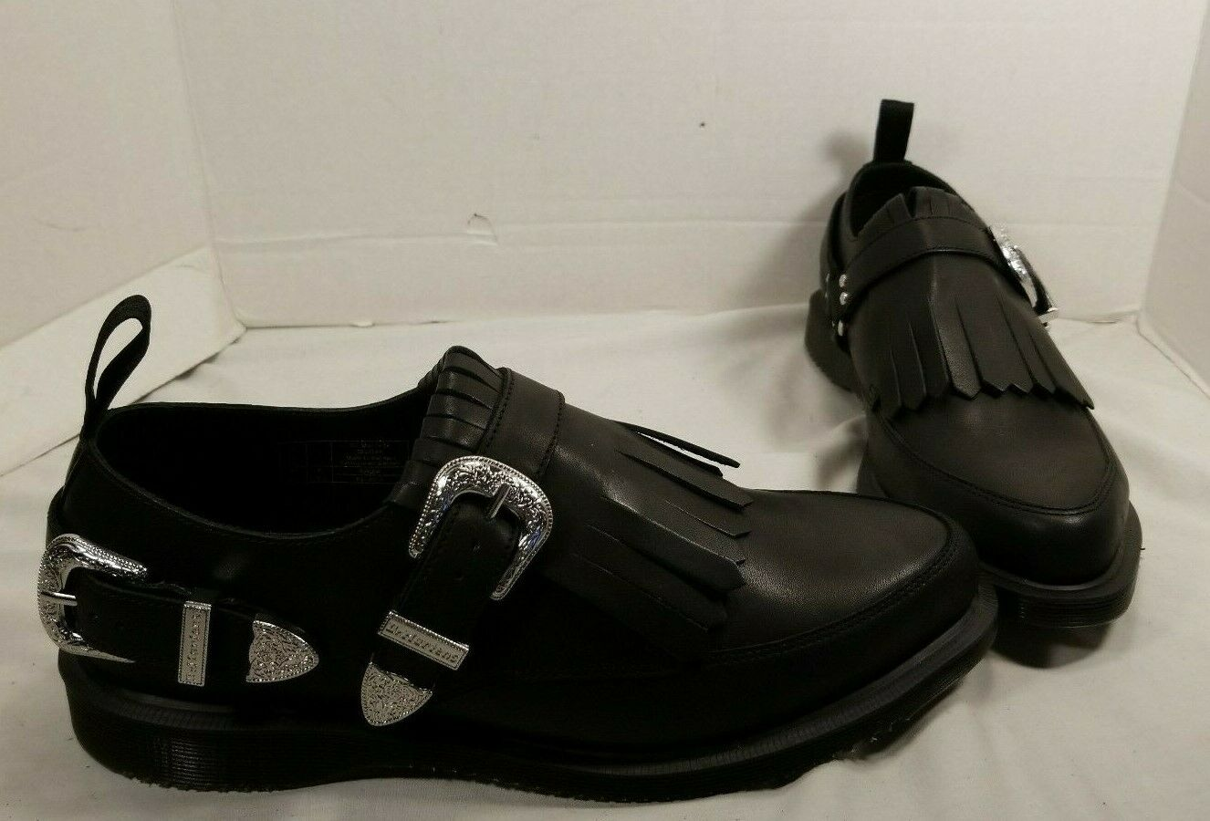 NEW WOMEN'S DR. MARTENS DELYLAH BLACK TEMPERLEY LEATHER SHOES SIZE US 9 EUR 41