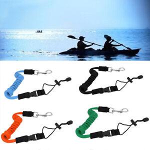 Safety Coiled Paddle Leash Fishing Rod Cord Tether Hook Kayak Canoe Boat UK