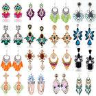 1 Pair Elegant Women Vintage Crystal Dangle Ear Stud Silver Plated Earrings