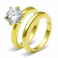 Gold Tone Stainless Steel Round CZ Women's Wedding Engagement Ring Set Size 5-10