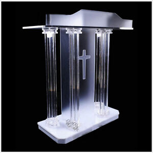 """47/""""Brown Wood Clear Acrylic Podium Church Lecturn Conference Pulpit Option Cross"""
