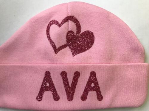 PERSONALISED HAT NEW BABY BOY//GIRLS BLUE//PINK SPARKLE NEWBORN SHOWER GIFT