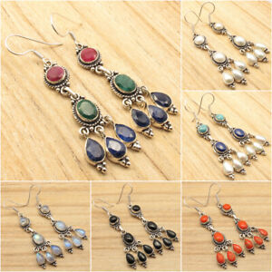 925-Silver-Plated-Simulated-RUBY-EMERALD-amp-SAPPHIRE-amp-Other-Fine-Gems-Earrings