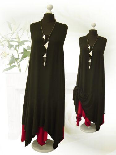 PoCo DeSiGn LAGENLOOK Ballon-Kleid Godet Zipfel schwarz rot 44-58 L-XL-XXL-XXXL
