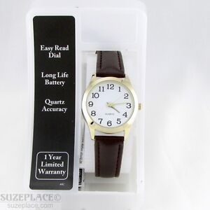 NEW-M-Z-BERGER-WOMENS-WATCH-GOLD-CASE-BROWN-LEATHER-BAND