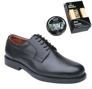Para-hombres-Cuero-Negro-Gibson-Zapatos-Talla-Uk-6-7-8-9-10-11-12-13-14-con-polaco-amp-Bru