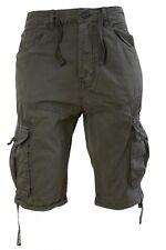 Mens Crosshatch Cargo Combat Shorts Cotton Military Utility 3/4 Pants 30 Inch