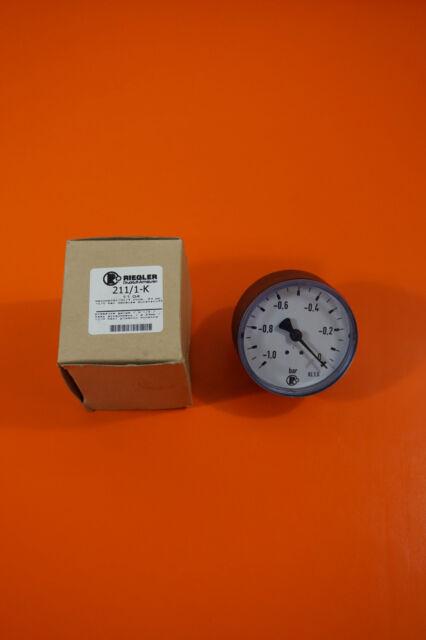 Riegler 211/1-K, Riegler Standardmanometer G1/4 rückseitig -1/0 bar 63 mm