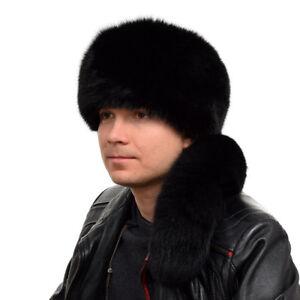 50704463e2f Genuine Men s Black Fox Fur Trapper Hat With Tail NEW Natural Fur ...