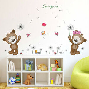 wandtattoo m dchen junge b rchen b ren pusteblume kinderzimmer babyzimmer herz ebay. Black Bedroom Furniture Sets. Home Design Ideas