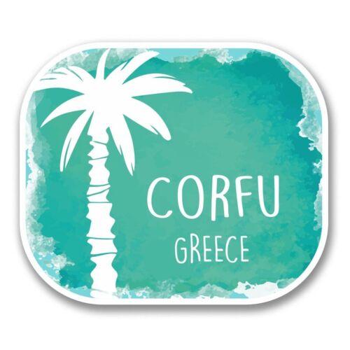 2 X Corfú Grecia Pegatina de vinilo Laptop Viaje Equipaje Coche #6327