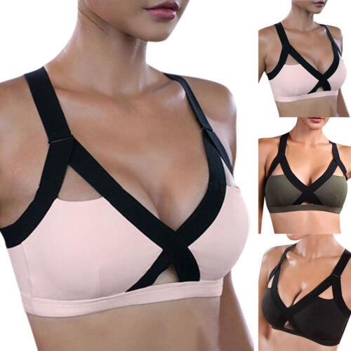 Damen Sports Bustier Push Up Top Bra Unterwäsche ohne Bügel Freizeit Fitness Gym