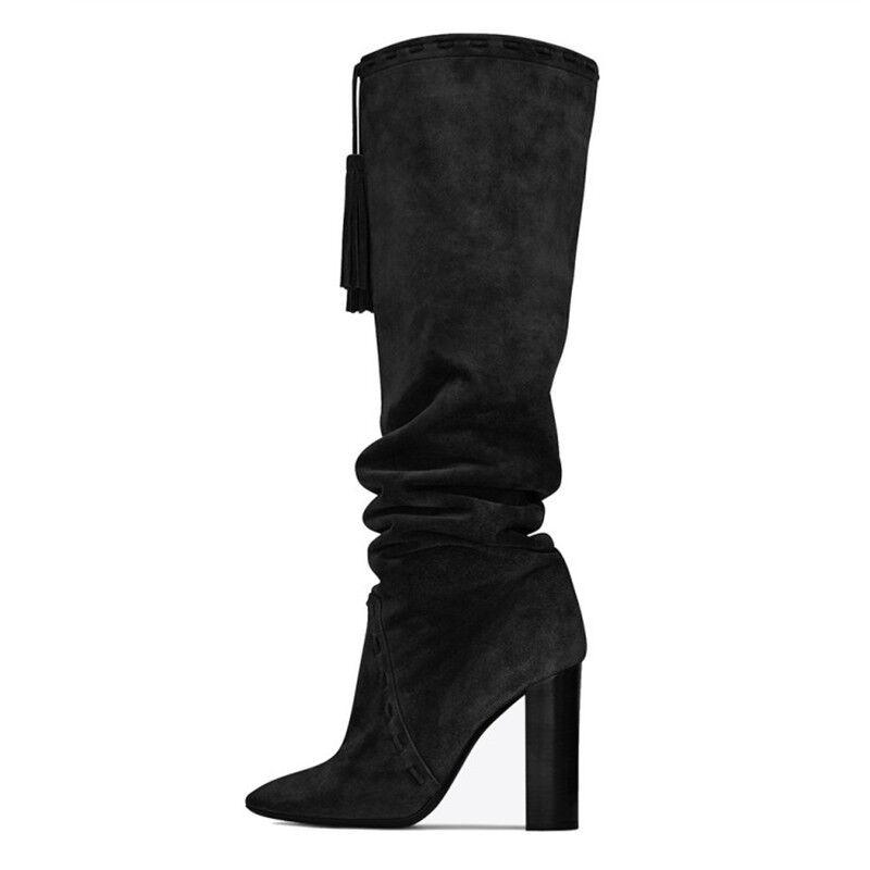 Mujeres Slouch rodilla hasta la rodilla Slouch Botas altas tacón alto bloque Borlas Gamuza Informal Zapatos 87684e