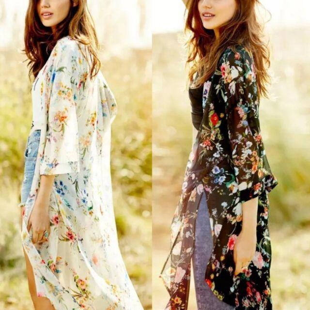 Summer Women Floral Boho Shawl Kimono Cardigan Chiffon Beach Cover Up Blouse Top