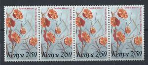 Kenya-N-250-MNH-1983-en-bande-de-4-tp-Fleurs-034-Terminalia-orbicularis-034