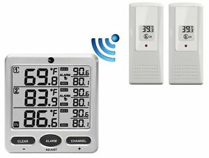Ambient Weather WS-21 Wireless 8-Channel Thermometer with Two Remote Sensors , N