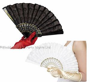 Black-White-Lace-Fan-Spanish-Mexican-Geisha-Girl-Victorian-Ladies-Fancy-Dress
