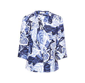 MARCO PECCI Tunika mit Blattmuster Damen Bluse Blau