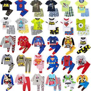 Infantil-Nino-Camiseta-Sueter-Pantalones-Informales-DIBUJOS-Pijama-Set