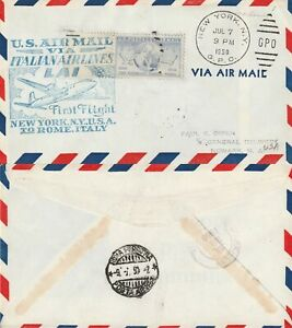 US-1950-ITALIAN-AIRLINE-FIRST-FLIGHT-FLOWN-COVER-NEW-YORK-NY-TO-ROME-ITALY-a
