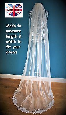 Candido Ordine Speciale Bespoke Bridal Veil * Con Filo In Pizzo Applique *-mostra Il Titolo Originale Ad Ogni Costo
