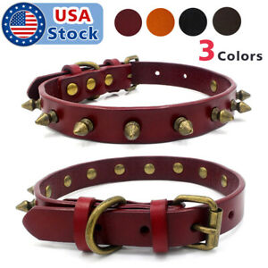 XS-L-Pet-PU-Leather-Studded-Spiked-Buckle-Cat-Puppy-Dog-Collar-Rivet-Strap-New