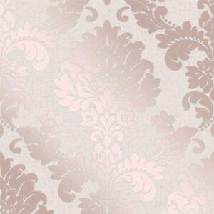 Quartz Damask Wallpaper Rose Gold Fine Decor Fd42204 Glitter New