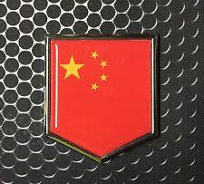 "China Flag Domed CHROME Emblem Proud PRC Flag Car 3D Sticker 2""x 2.25"" Beijing"