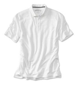 Men-Orvis-Luxe-Pique-Pocket-Polo-White-Short-Sleeved-Rugby-Wicks-Moisture-Medium