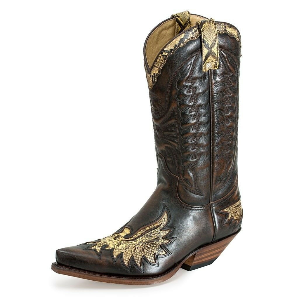 Sendra 7106 Phyton Men Cowboy  Brown Boots Leather Mid Western Calf  Western Mid Boot 6d09b4