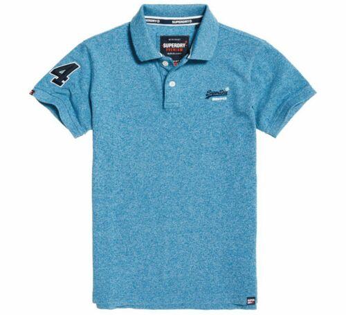 Superdry Mens Classic Pique Polo T Shirt Retro Tee Blue