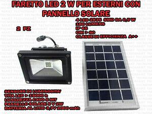 Luce Per Esterno Con Pannello Solare.Dettagli Su 2 Faretti 2w 4 Led Per Esterno Ip65 Con Pannello Solare 5v Sensore Crepuscolare