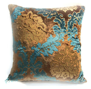 028d8517fb06 Wa04a Teal Blue Brown Gold Print Damask Velvet Cushion Cover Pillow ...