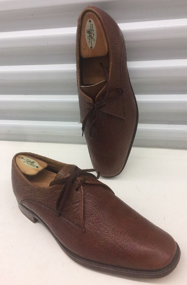 GRENSON Oxford Brogued Dress Shoes Brown Tan Antelope Leather Uomo Sz 9