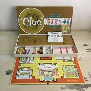 CLUE-Vtg-1960-Parker-Brothers-Detective-Board-Game-Pieces-Box-Cards-Rules