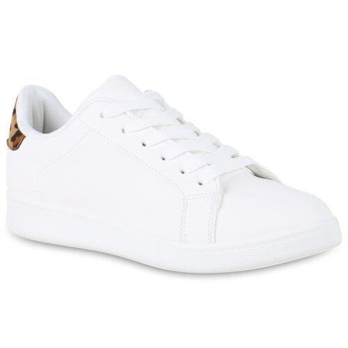 Damen Sneaker Low Leder-Optik Turnschuhe Schnürer Metallic Flats 830106 Schuhe