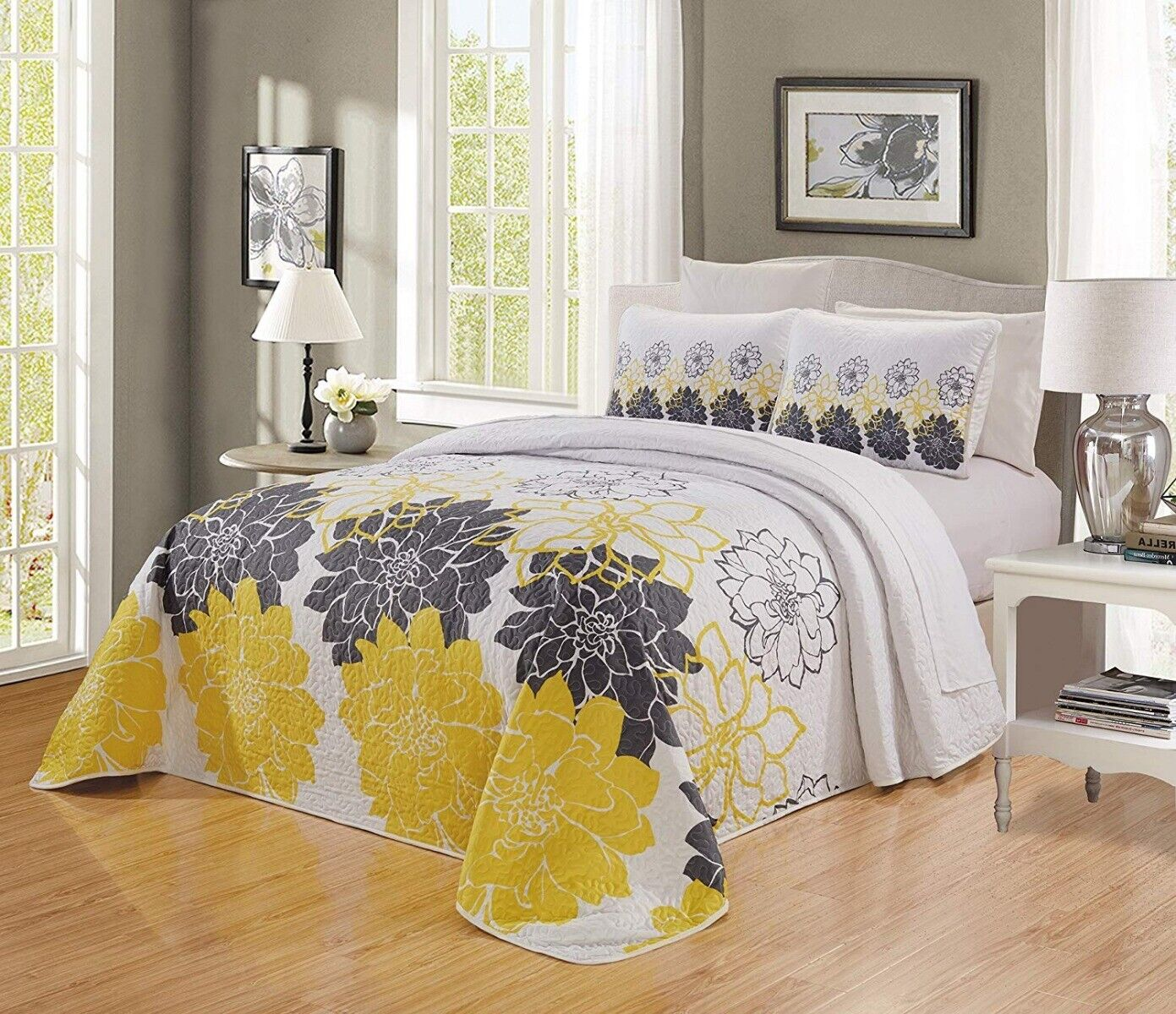 Sunshine Yellow White Grey Floral Quilt Reversible Bedspread Queen Size Coverlet