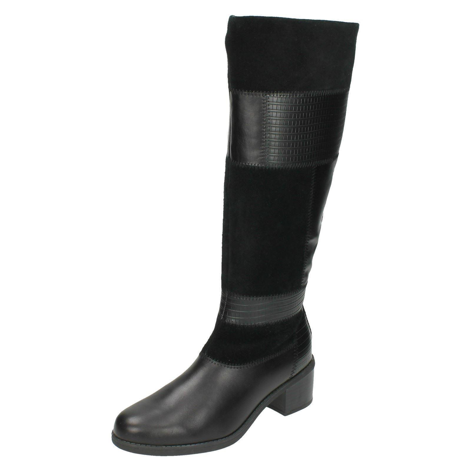 Damen Clarks Leder Reißverschluss Smart Formaler Knielang