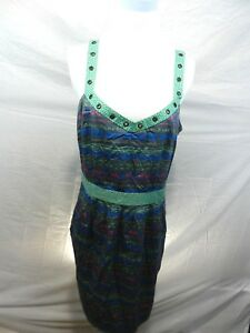 I-Love-Ronson-Womens-Large-Summer-Dress-Sleeveless-Lined-Multi-color-Knee-Length