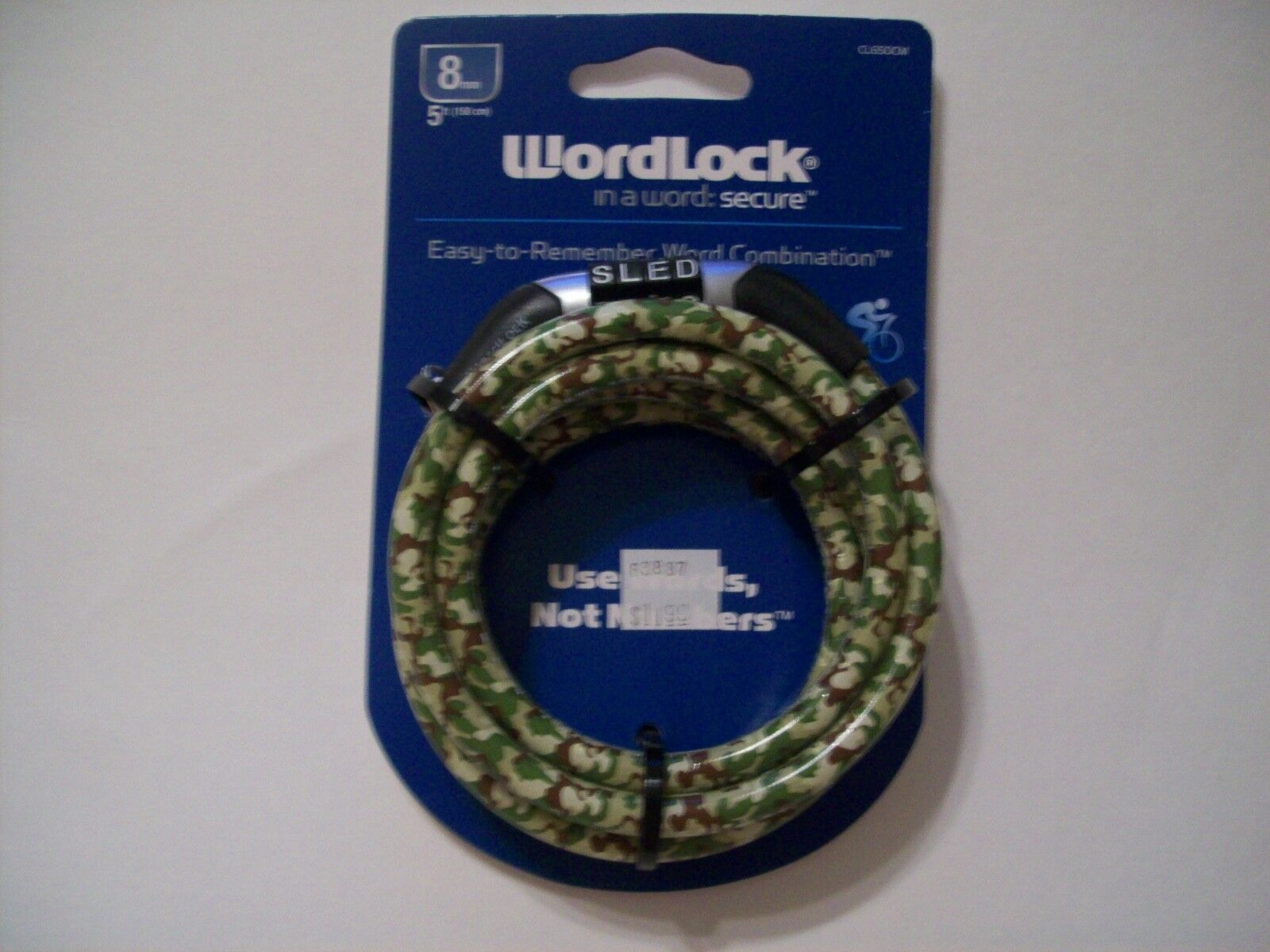Wordlock words combination 5 ft universal cable lock 8mm camouflage CL650CM new